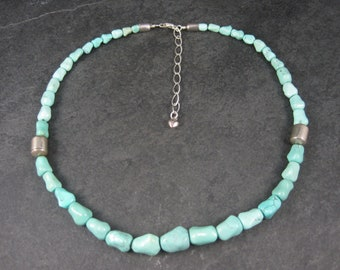 VIntage Sterling Carved Turquoise Bead Necklace