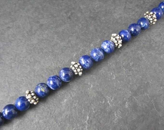 Lapis Lazuli Sterling Bead Bracelet 8 Inches