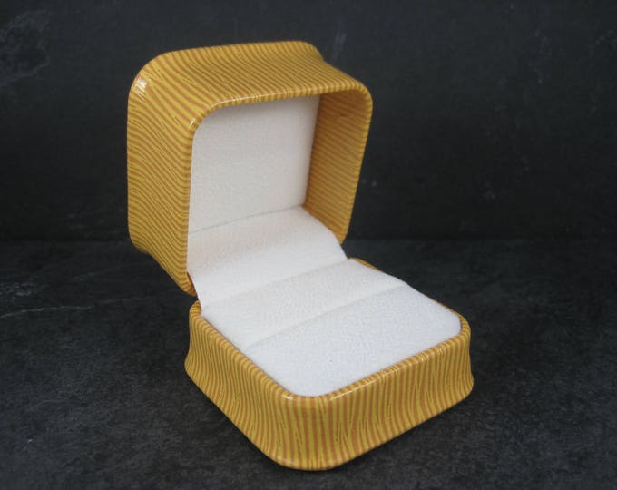Embossed Golden Leatherette Ring Box