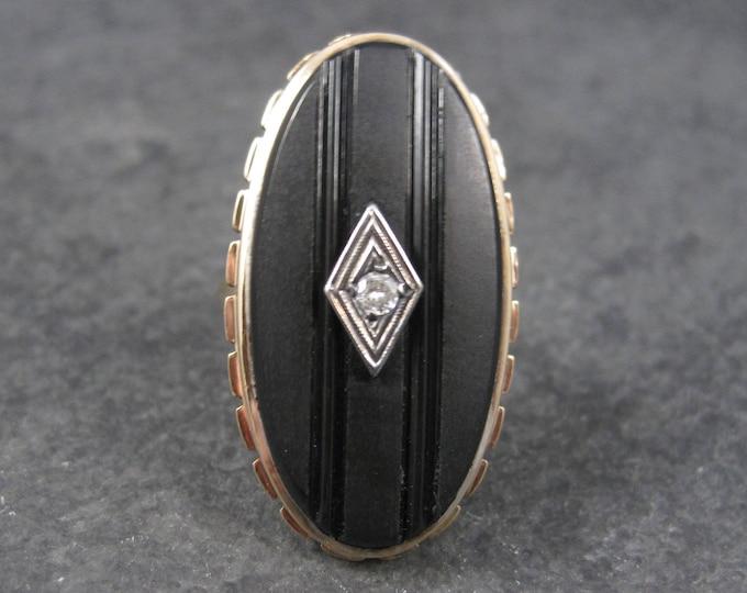 Art Deco 12K Carved Onyx Diamond Ring Size 5