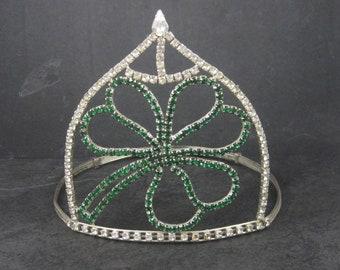 Large 5 Inch Vintage Clover Rhinestone Crown Tiara
