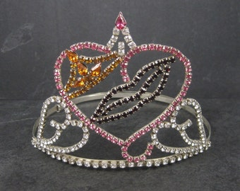 Large 4 Inch Vintage Beauty Queen Pageant Rhinestone Crown Tiara