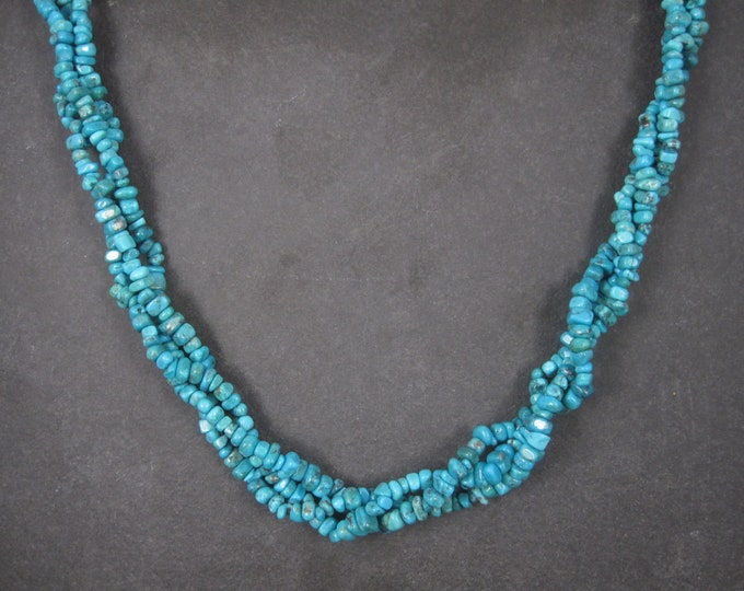 Sterling 3 Strand Turquoise Necklace Toggle Clasp 20 Inches