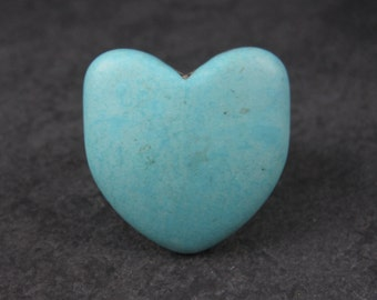 Huge Carved Turquoise Howlite Heart Ring Size 9