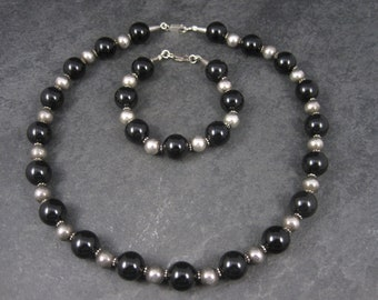 Vintage Black Sterling Bead Necklace and Bracelet Set
