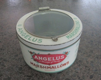 Antique 5 Pound Angelus Marshmallow Tin with Hinged Glass