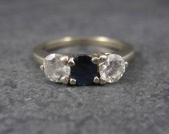 Vintage 14K 1 Carat Diamond Sapphire Ring Size 6