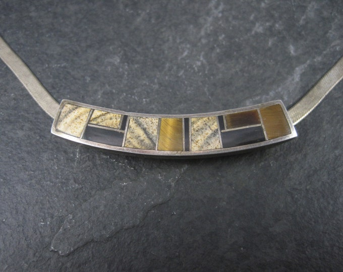 Vintage Southwestern Sterling Tigers Eye Onyx Inlay Pendant Slide