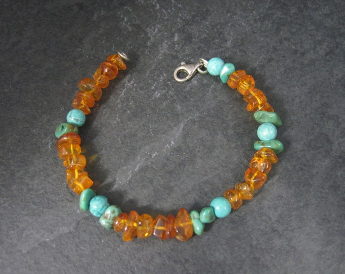 Vintage Sterling Turquoise Amber Bracelet 7 Inches