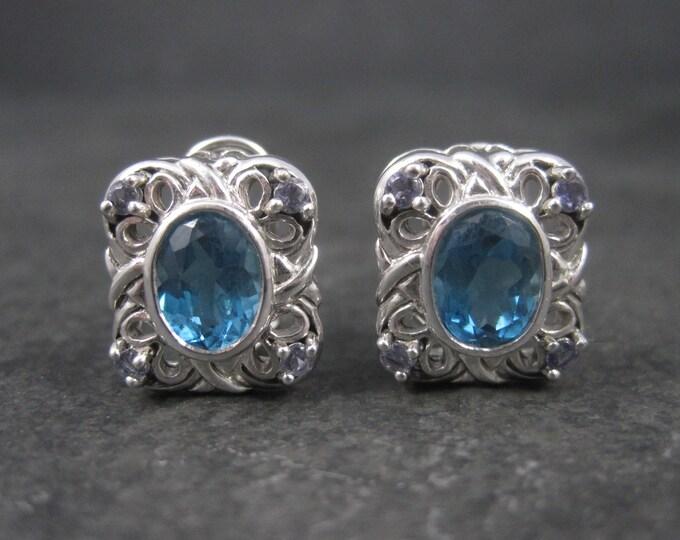 Vintage 90s 10K White Gold Blue Topaz Iolite French Back Earrings