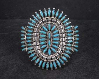 Vintage Navajo Turquoise Cluster Cuff Bracelet 6.25 Inches