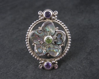 Sterling Silver Abalone Peridot Amethyst Flower Ring by Sajen Size 8
