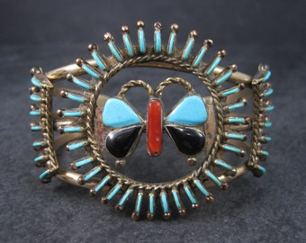 Vintage Needlepoint Turquoise Butterfly Cuff Bracelet
