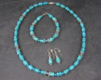 Vintage Handmade Sterling Chinese Turquoise Necklace Bracelet Earrings Jewelry Set