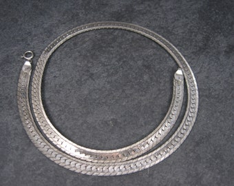 Vintage 7mm Sterling Herringbone Chain Necklace 18 Inch