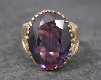 Antique 14K 8.10 Carat Purple Sapphire Ring Size 10.5