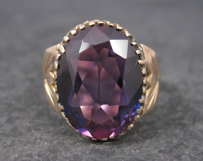 Featured listing image: Antique 14K 8.10 Carat Purple Sapphire Ring Size 10.5