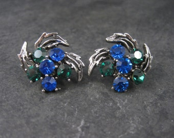 Vintage Blue and Green Rhinestone Clip On Earrings