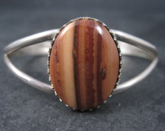 Vintage Southwestern Sterling Agate Cuff Bracelet 6 Inches