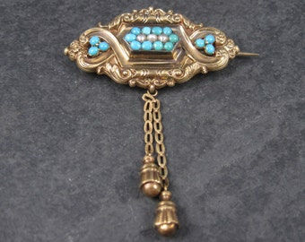 Antique Victorian 14K Turquoise Pearl Brooch