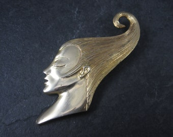 Vintage 80s Art Nouveau Style Lady Brooch MJENT