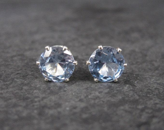 March Birthstone Aquamarine Sterling Stud Earrings 6mm