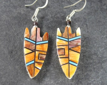 Vintage Santo Domingo Spiny Oyster Turquoise Arrowhead Earrings