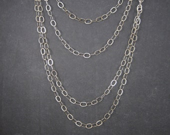 Vintage Sterling 6mm Opera Length Chain Necklace 50 Inches