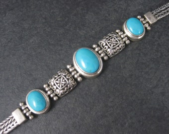 90s Vintage Sterling Bali Style Turquoise Toggle Bracelet 7.5 Inches