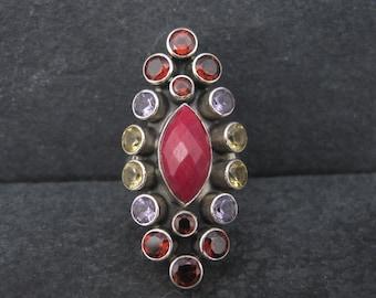 Vintage Sterling Garnet Amethyst Citrine Ruby Ring Size 6 Nicky Butler