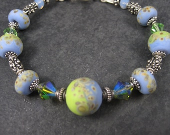 Handmade Blue Green Lampwork Bead Bracelet 7.5 Inches