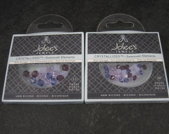 Lot of 2 Jolees Crystallized Swarovski Crystal Elements 4 and 6MM Bicone Beads in Purple Mix #5301