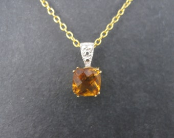 Dainty Vintage 14K Orange Citrine Pendant Necklace Clyde Duneier