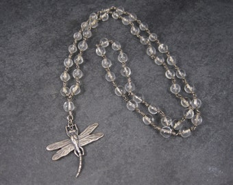 Vintage Dragonfly Rock Crystal Pools of Light Necklace