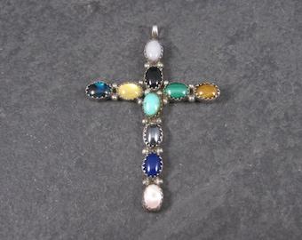 Vintage Sterling Navajo Gemstone Cross Pendant