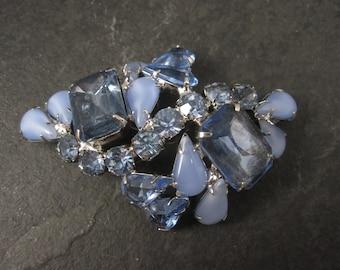 Large Vintage Blue Rhinestone Juliana Brooch