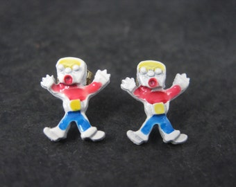 Vintage Gold Filled Enamel Mr Bill Earrings