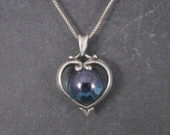 Vintage Sterling Blue Sphere Heart Pendant Necklace