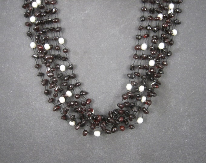 Vintage Sterling Cherry Amber Pearl Necklace 8 Strands