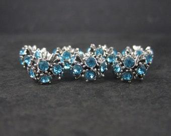 Lot of 7 European Style Blue Rhinestone Bracelet Charm Beads Jewelry Making Supplies
