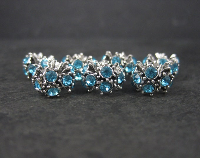 Lot of 7 European Style Blue Rhinestone Bracelet Charm Beads Jewelry Making Supplies