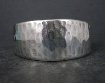 Vintage Mexican Sterling Hammered Cuff Bracelet 6.5 Inches