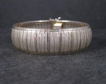 Wide Vintage Sterling 18mm Snake Bracelet 7.5 Inches