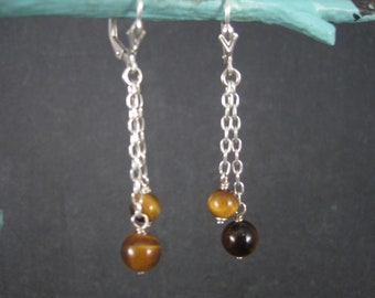 Sterling Leverback Tigers Eye Earrings