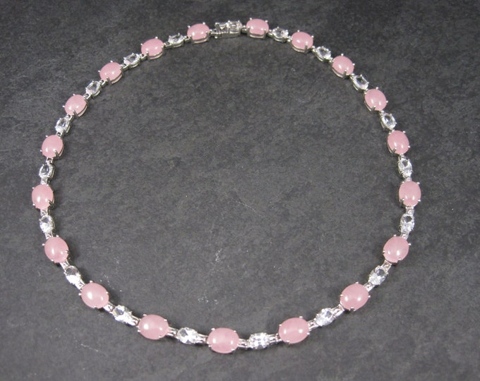 Vintage 90s Sterling Pink Jade White Topaz Necklace 17 Inches