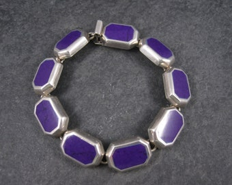 Vintage Mexican Silver Sterling Sugilite Bracelet