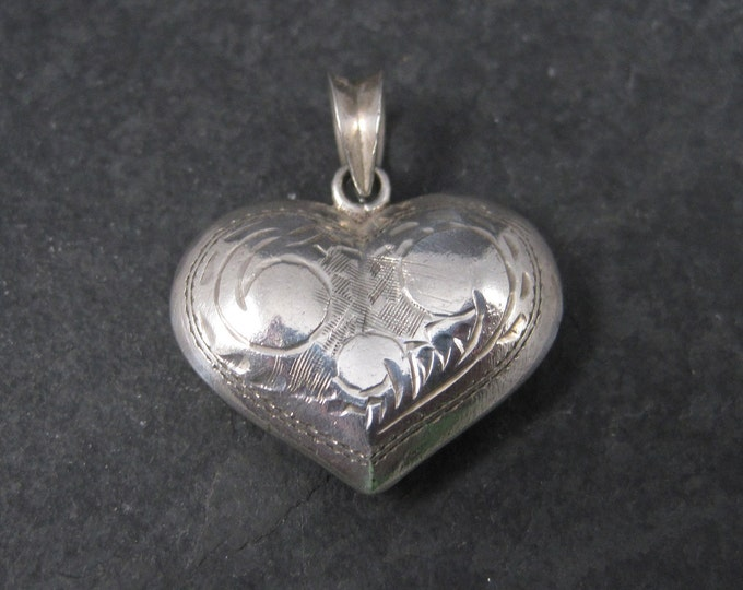 Etched Puffy Heart Pendant Sterling Silver