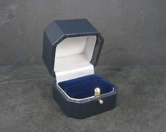 Antique Style Push Button Blue Engagement Ring Box