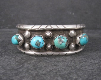 Heavy Vintage Navajo Turquoise Cuff Bracelet 6 Inches