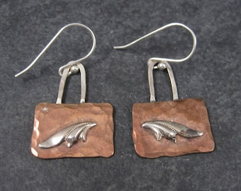 Handmade Vintage Hammered Copper Sterling Earrings